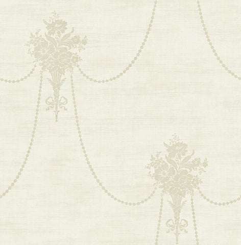 Beaded Bouquet Wallpaper in Camel from the Vintage Home 2 Collection by Wallquest