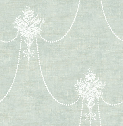 Beaded Bouquet Wallpaper in Verdant from the Vintage Home 2 Collection by Wallquest