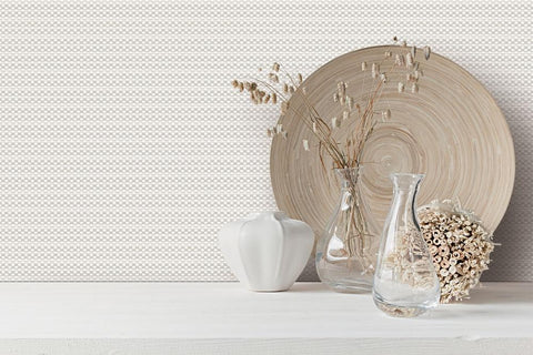 Becca Textured Weave Wallpaper in Ivory and Silver by BD Wall
