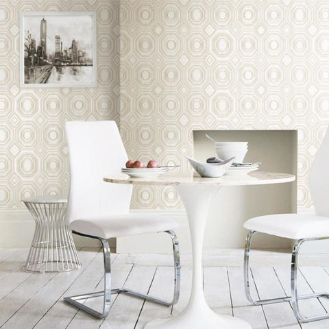 Bee's Knees Peel & Stick Wallpaper in White and Ivory by RoomMates for York Wallcoverings