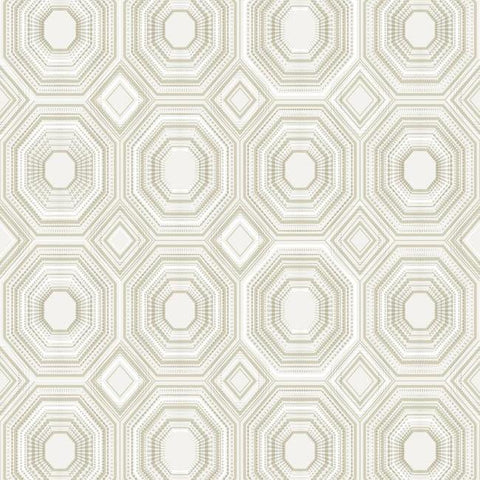 Sample Bee's Knees Peel & Stick Wallpaper in White and Ivory by RoomMates for York Wallcoverings