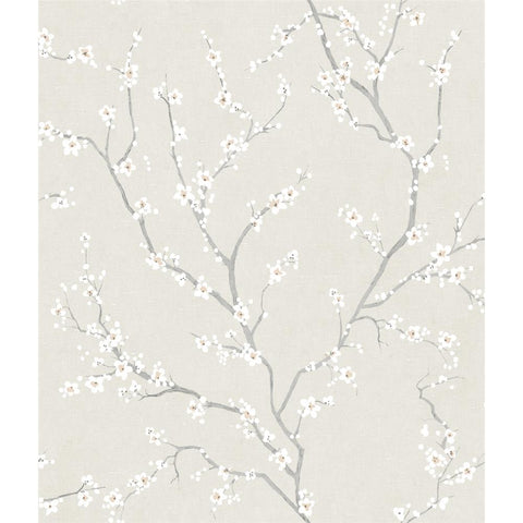 Beige Cherry Blossom Peel & Stick Wallpaper by RoomMates for York Wallcoverings