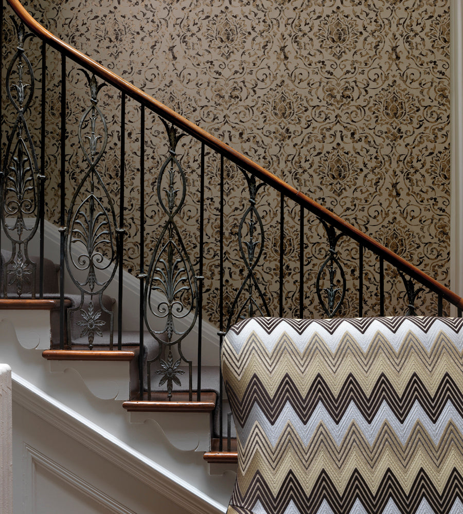 Belem Wallpaper in Chocolate and Gold by Nina Campbell for Osborne & Little