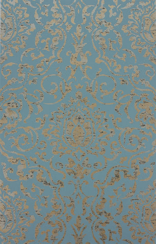 Belem Wallpaper in Topaz and Gold by Nina Campbell for Osborne & Little