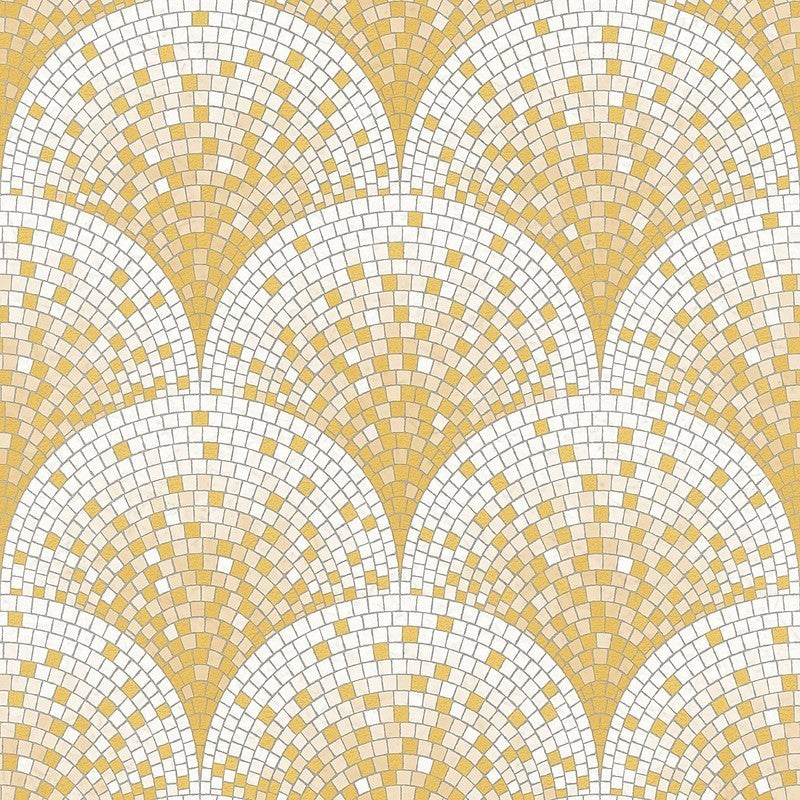 Sample Bella Textured Tile Effect Wallpaper in Gold by BD Wall