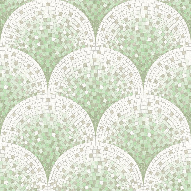 Sample Bella Textured Tile Effect Wallpaper in Green and Metallic by BD Wall
