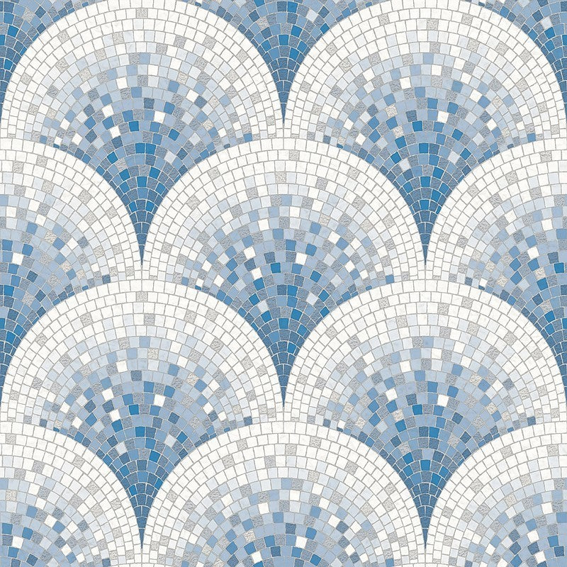 Sample Bella Textured Tile Effect Wallpaper in Pearl Blue and Ivory by BD Wall