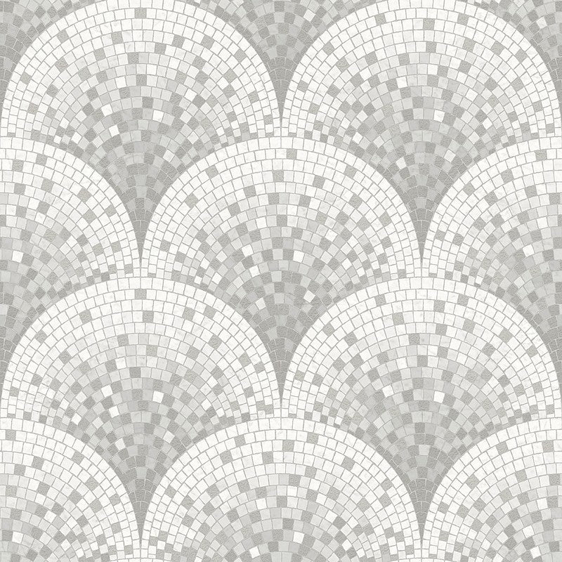 Bella Textured Tile Effect Wallpaper in Pearl and Grey by BD Wall