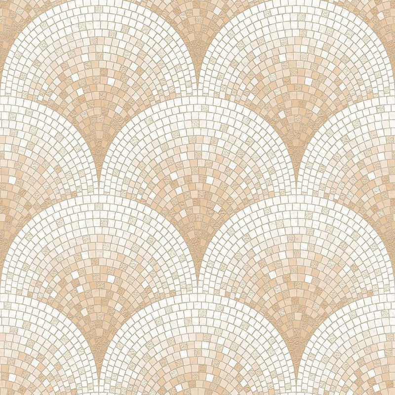 Sample Bella Textured Tile Effect Wallpaper in Rose Gold by BD Wall