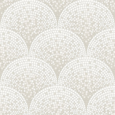 Bella Textured Tile Effect Wallpaper in Silver and Ivory by BD Wall
