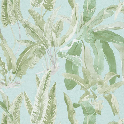 Benmore Wallpaper in Green and Aqua from the Ashdown Collection by Nina Campbell for Osborne & Little