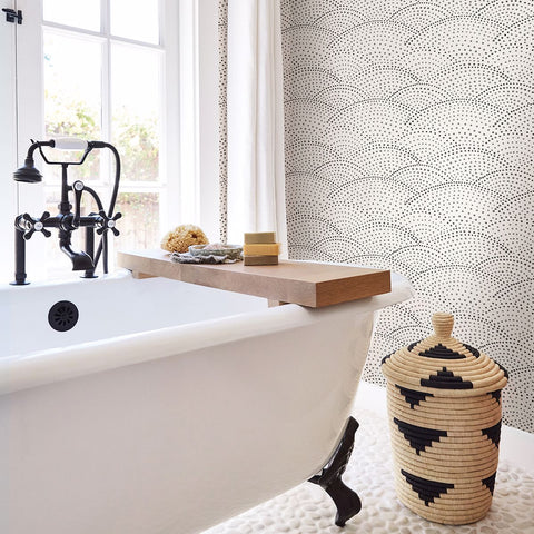 Bennett Dotted Scallop Wallpaper in Charcoal from the Bluebell Collection by Brewster Home Fashions