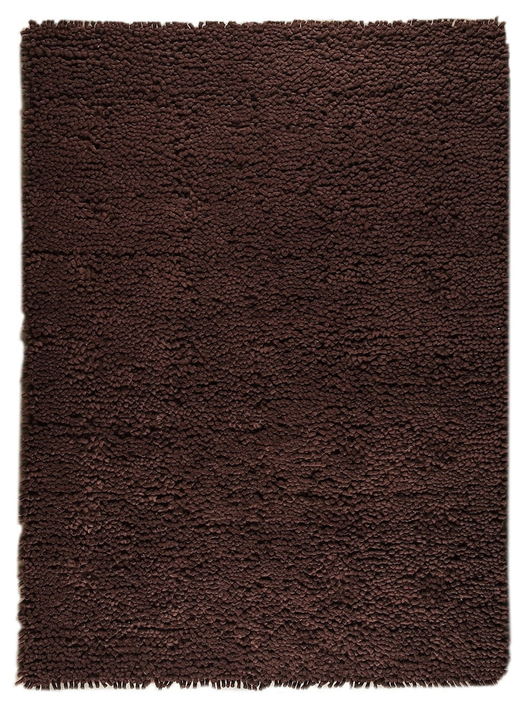 Berber Collection Hand Woven Wool Shag Area Rug in Brown