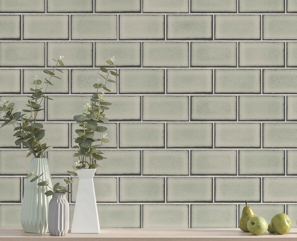 Berkeley Brick Tile Wallpaper by BD Wall