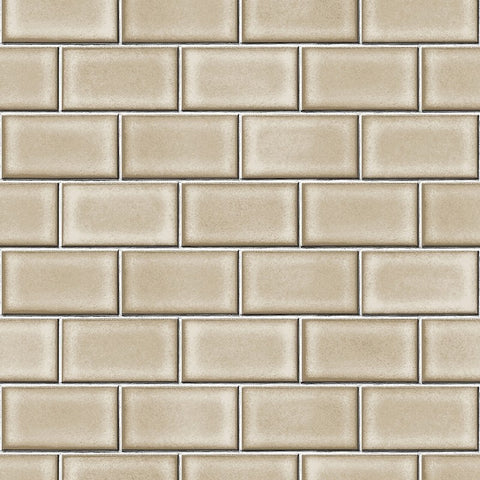 Berkeley Brick Tile Wallpaper in Beige by BD Wall