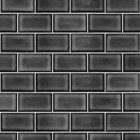 Berkeley Brick Tile Wallpaper in Black by BD Wall