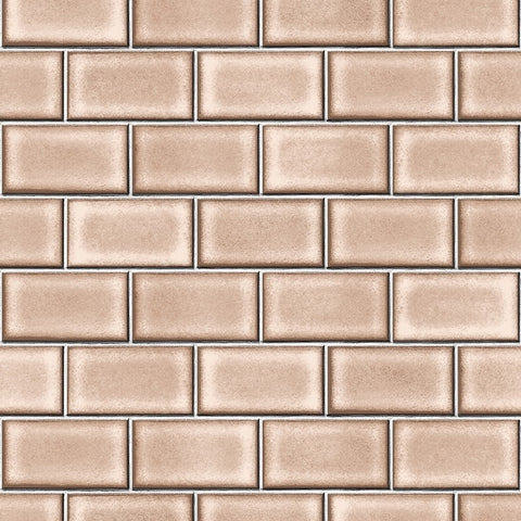Berkeley Brick Tile Wallpaper in Brown by BD Wall