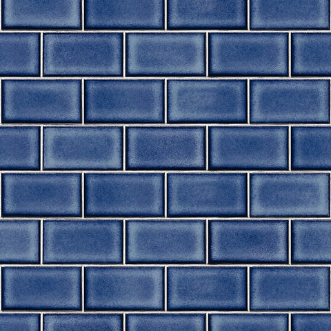 Berkeley Brick Tile Wallpaper in Dark Blue by BD Wall