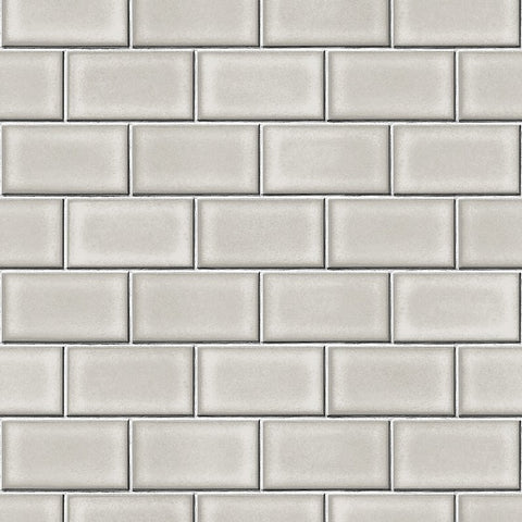 Berkeley Brick Tile Wallpaper in Grey by BD Wall
