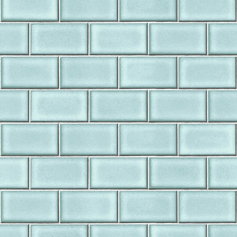 Berkeley Brick Tile Wallpaper in Light Blue by BD Wall