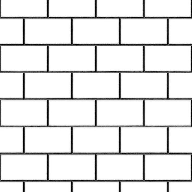 Berkeley Brick Tile Wallpaper in White and Black by BD Wall