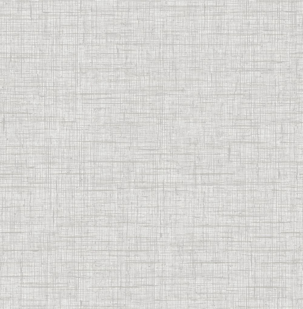 Bermuda Linen Stringcloth Wallpaper in Daydream Grey and Ivory from the Boho Rhapsody Collection by Seabrook Wallcoverings