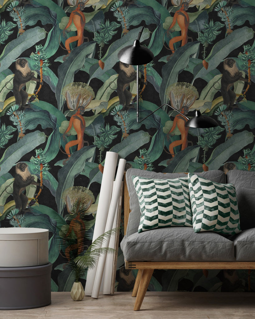 Bermuda Wallpaper in Black and Green from the Rediscovered Paradise Collection by Mind the Gap