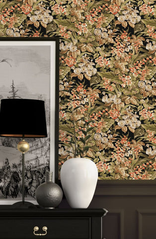 Bessie Textured Floral Wallpaper in Black Multi by BD Wall