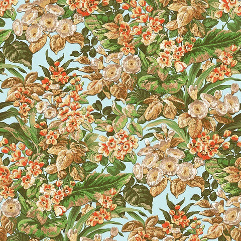 Bessie Textured Floral Wallpaper in Light Blue Multi by BD Wall