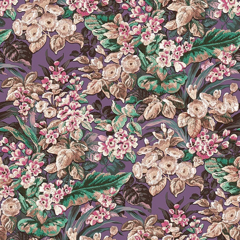Bessie Textured Floral Wallpaper in Purple Multi by BD Wall