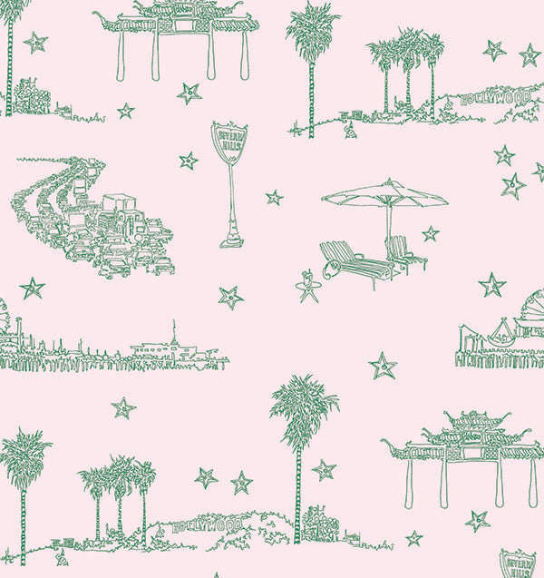 Sample Best Coast Wallpaper in Green and Light Pink by Sandy White for Cavern Home