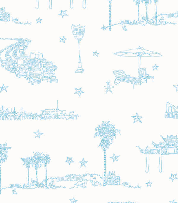 Best Coast Wallpaper in Ocean Blue and White by Sandy White for Cavern Home