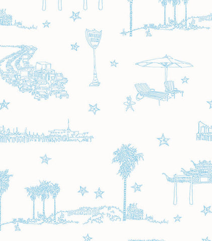 Best Coast Wallpaper In Ocean Blue And White By Sandy White For Cavern Home  ...