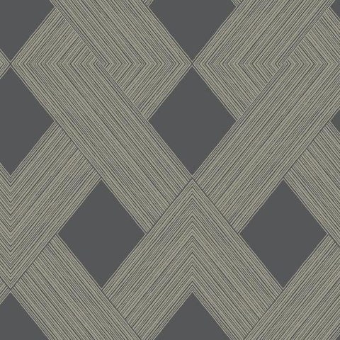 Sample Beveled Edge Wallpaper in Charcoal and Glint from the Geometric Resource Collection by York Wallcoverings