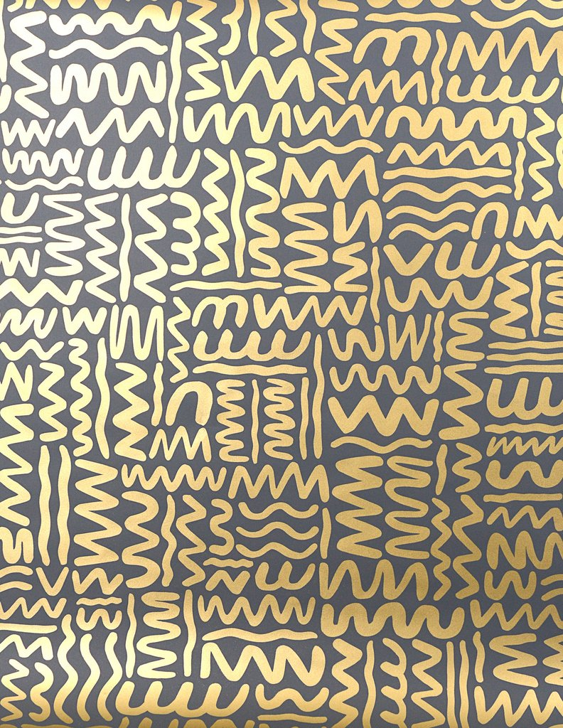 Sample Big Moon Wallpaper in Gold on Charcoal by Juju
