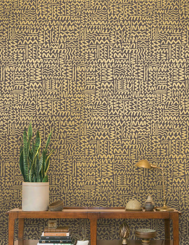 Big Moon Wallpaper in Gold on Charcoal by Juju