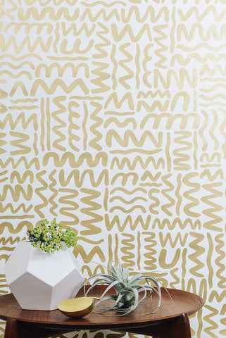 Big Moon Wallpaper in Gold on Cream by Juju