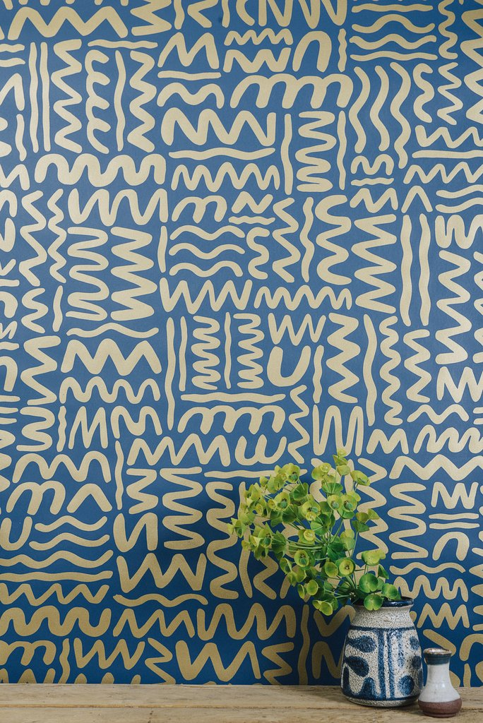 Big moon wallpaper in gold on navy by juju