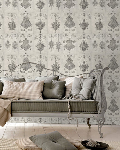 Bijoux Wallpaper in Grey and Black from the Eclectic Collection by Mind the Gap