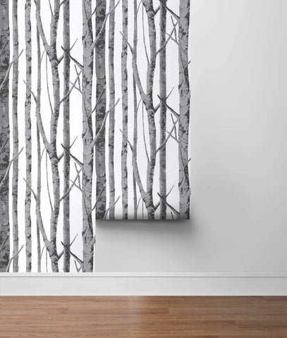 Birch Trees Peel-and-Stick Wallpaper in Monochrome by NextWall