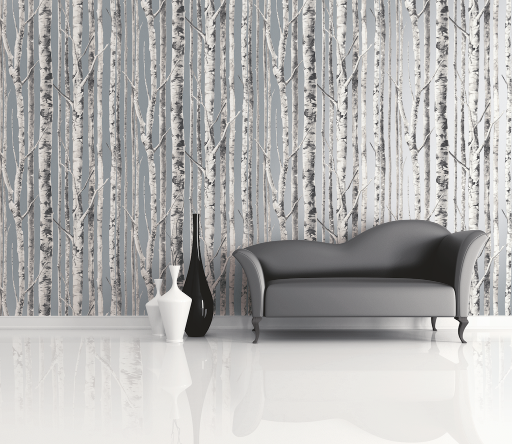 Birch Wallpaper in Silver and Grey from the Solaris Collection by Mayflower Wallpaper