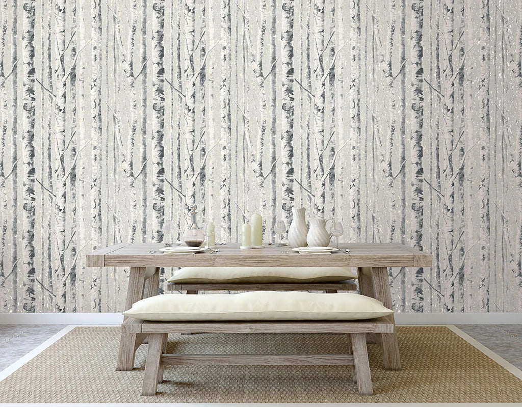 Birch Wallpaper in Frost from the Sanctuary Collection by Mayflower Wallpaper