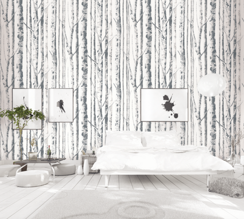 Birch Wallpaper in Ivory and Grey from the Solaris Collection by Mayflower Wallpaper