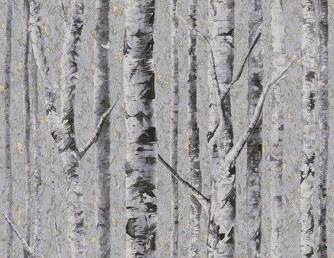 Birch Wallpaper in Moonlight from the Sanctuary Collection by Mayflower Wallpaper
