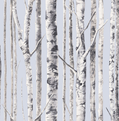 Birch Wallpaper in Periwinkle and Grey from the Solaris Collection by Mayflower Wallpaper