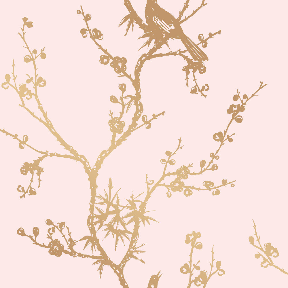 Bird Watching Self Adhesive Wallpaper In Rose Pink And Gold By