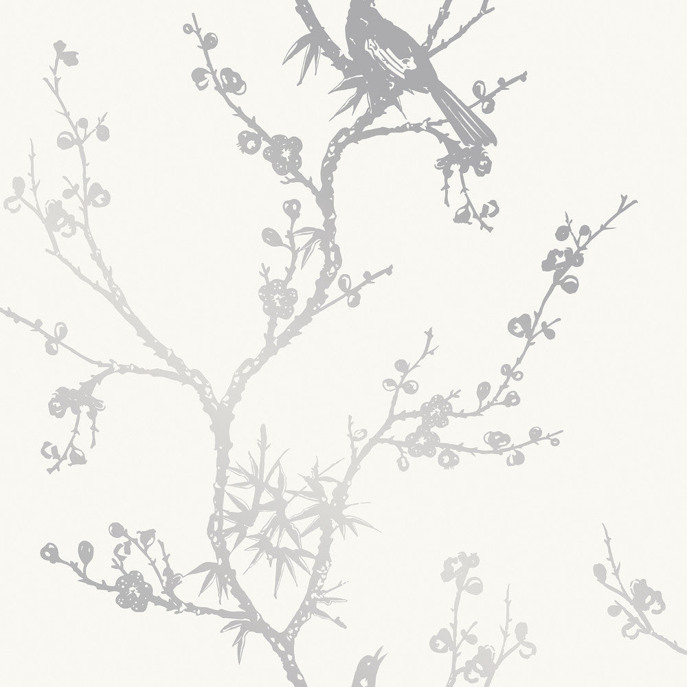 Bird Watching Self Adhesive Wallpaper in White and Silver by Cynthia Rowley for Tempaper