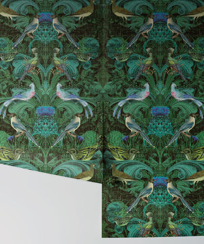 Birdlife Wallpaper in Green by Simcox Designs for Milton & King