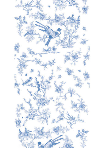 Birds & Blossom Wallpaper in Blue by KEK Amsterdam