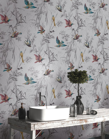Birds Of Paradise Wallpaper in from the Sanctuary Collection by Mayflower Wallpaper